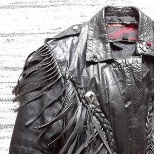 *RARE* Vintage Leather Biker Jacket Fringe Pins